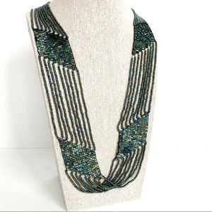 Hand Made Iridescent Bead Long Statement Necklace